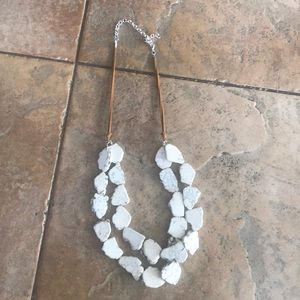 Two layered Cream rock adjustable necklace